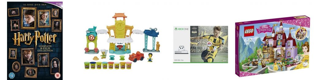 Harry Potter 8 film set: £35 Play Doh town: £29.99 Xbox One S 500gb with Fifa 17: £249.99 Lego Disney Princess Belle's Castle: £50.09